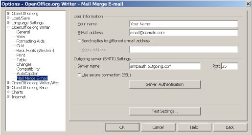 Open Office E Mail Merge Settings - outgoing mail server settings