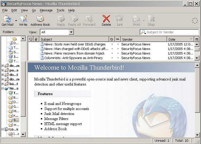 Default thunderbird start page